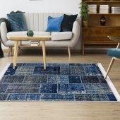 Ahsen Halı PVC Deri Taban Kaydırmaz Patch Work Desen Mavi Halı
