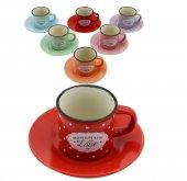 12 Parça Renkli Kahve Fincan Takımı. 6 Kişilik...