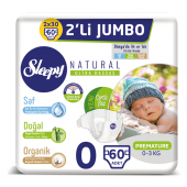 Sleepy Natural Bebek Bezi 0 Beden Prematüre 2li...
