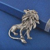 Fashionmoon Aslan Figürlü Erkek Broşu Gümüş Rengi