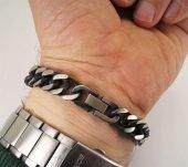 Eskitilmiş Oksitli Çelik Erkek Bileklik Orta Kalınlıkta-4