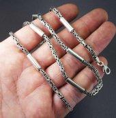3,5mm Kral Gümüş Erkek Kolye Zincir Silindir Şarnelli Parçalı Model-3