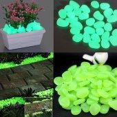 100lü Fosforlu Çakıl Taşı Dekoratif Akvaryum Solar Bahçe Işığı