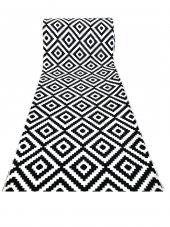 Aksu Piramit Desen Siyah Beyaz Jel Taban Kaydırmazlı Kesme Yolluk Halı