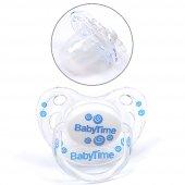 Baby Time Damaklı Şeffaf Gövdeli Desenli Koruma Kapaklı Emzik 6 18 Ay Bt135 2 Mavi