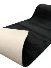 Sarar Halı Siyah Düz Renk Kaydırmazlı Pofuduk KESME YOLLUK HALI -3