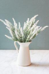 Italyan Saksıda Beyaz Provence Yapay Çiçek Lavanta
