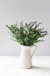 Italyan Saksıda Mor Şimşir Yapay Çiçek