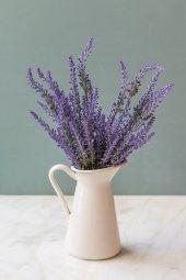Italyan Saksıda Mor Provence Yapay Çiçek Lavanta