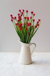 Italyan Saksıda Kırmızı Chetori To Yapay Çiçek