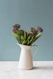 Italyan Saksıda Mor Allium Yapay Çiçek