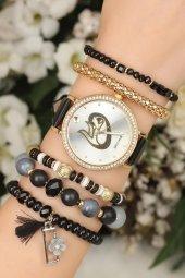 Boncuk Bileklik Taş Tasarım Kadran Kadın Saat