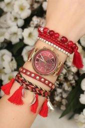Deri Kordonlu Kırmızı Kadın Kol Saati Bileklik Seti
