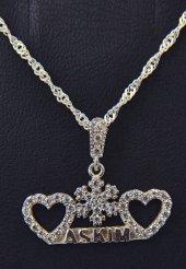 Aşkım Yazılı Gümüş Kolye  Kalpli Kolye-2