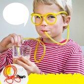 Gözlük Şeklinde Pipet Doğum Günü Parti Eğlence İçecek İçme Kamışı