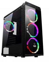 Gametech GT-001 4x120mm Rainbow Fanlı Tempered Glass Gaming Oyuncu Bilgisayar Kasası PSU Yok