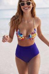 Ewa Angel Şık Renkli Destekli Bel Bikini Üst