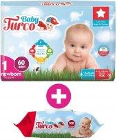 Baby Turco Bebek Bezi Jumbo Beden:1 (2-5Kg) Yeni Doğan 60 Adet + Islak Mendil 100 Yaprak