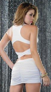 Ewa Beyaz Arkası Çapraz Şık Elbise
