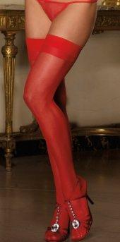 Ewa Kırmızı Dantelsiz Jartiyer Çorabı-2