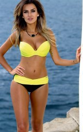 Ewa Angel Sarı Siyah Şık Bikini Takım