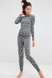 Ewa Gri Yıldız Desenli Şık Pijama Takımı-2