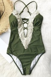Ewa Angel Yeşil Dantel İşlemeli Mayo-8