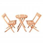 İki Kişilik Ahşap Bistro Takım Yuvarlak Bahçe Masası + 2 Sandalye