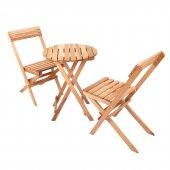 İki Kişilik Ahşap Bistro Takım Yuvarlak Bahçe Masası + 2 Sandalye-2