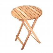 İki Kişilik Ahşap Bistro Takım Yuvarlak Bahçe Masası + 2 Sandalye-5