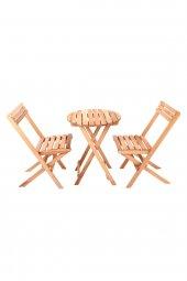 İki Kişilik Ahşap Bistro Takım Yuvarlak Bahçe Masası + 2 Sandalye-7