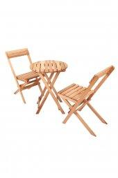 İki Kişilik Ahşap Bistro Takım Yuvarlak Bahçe Masası + 2 Sandalye-8