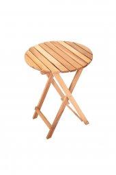 İki Kişilik Ahşap Bistro Takım Yuvarlak Bahçe Masası + 2 Sandalye-11