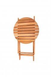İki Kişilik Ahşap Bistro Takım Yuvarlak Bahçe Masası + 2 Sandalye-12