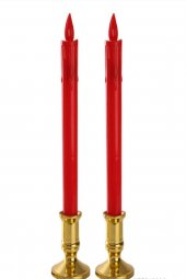 4lü Kırmızı 25cm Led Mum