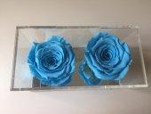 Cam Pleksi içerisinde ikili Mavi  Solmayan Gül -3