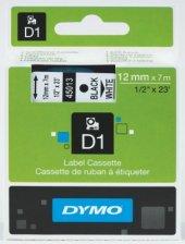 Dymo D1 Yedek Şerit 12x7mt Siyah Beyaz