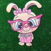 Gözlüklü Pembe Tavşan Üç Boyutlu Dikme Motif