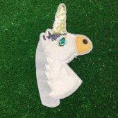 Beyaz Pullu Boynuzlu Unicorn Üç Boyutlu Dikme Motif