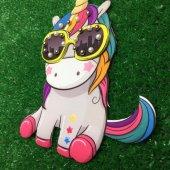 Gözlüklü Unicorn Üç Boyutlu Dikme Motif