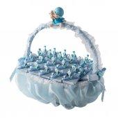 Dikdörtgen Saplı Mavi Bebek Doğum Sepeti 22 Adet Çikolatalı