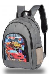 Araba Desenli Gri Okul Sırt Çantası