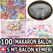 100 Adet Makaron Balon + 5 Mt Balon Kemeri Soft Renk 100 Lü Makaron Ve Balon Zinciri 5 Mt Balon Şerit