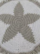 Nuh Home El Yapımı Yuvarlak Penye Dokuma Halı-Yıldız Desenli Gri -Beyaz Renk  halı-2