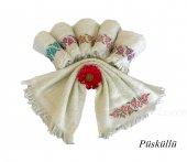 Arliva 30x50 Bordür Püsküllü Çiçek Nalışlı Havlu 6lı Paket Arl002