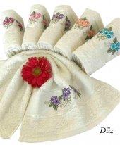 Arliva 30x50 Bordür Düz Çiçek Nakışlı Havlu 6lı Paket Arl00247