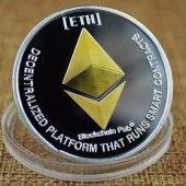 Gümüş Altın Kaplama Ethereum Eth Madeni Para Coin Token Cryptocur