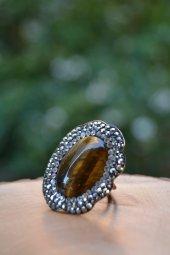 Stoneage Kaplan Gözü Doğal Taş El Yapımı Ayarlanabilir Kadın Yüzü