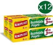 Koroplast Buzdolabı Poşeti Orta Boy 4 Al 3 Öde 120li X 12 Paket (24x38)