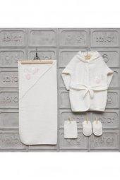 Kız Bebek Balerin Ayıcıklar Bornoz Seti